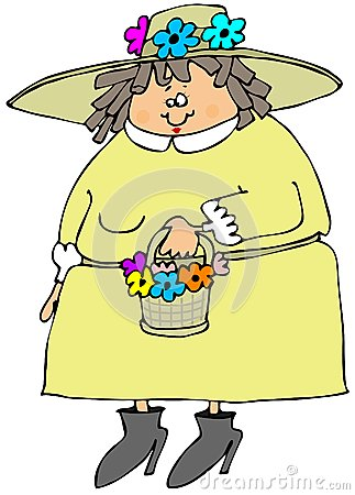Woman wearing a spring bonnet