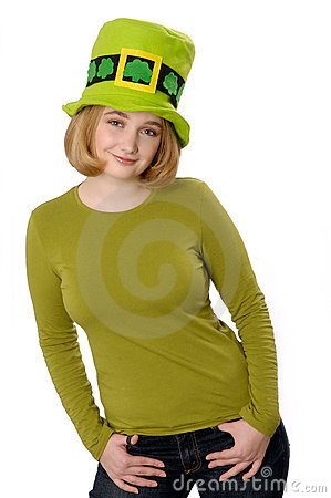 Woman wearing St. Patrick's Day hat.