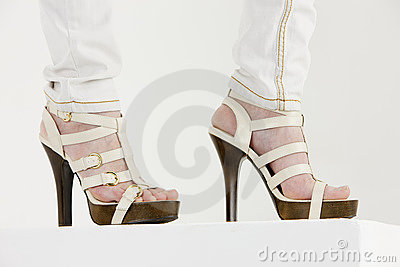 Woman wearing summer shoes