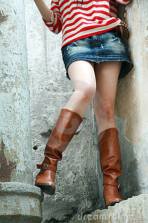 Woman wearing tall boots