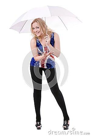 Woman wearing union-flag shirt