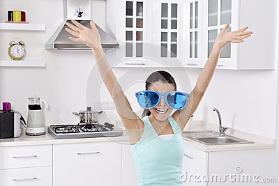 Woman wearing unique glasses