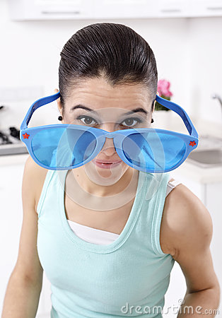 Woman wearing unique glasses