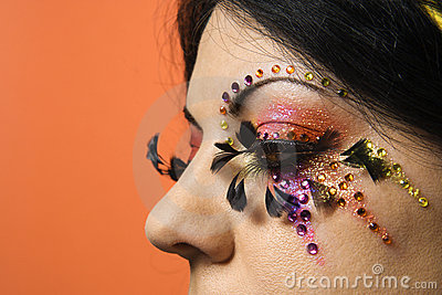 Woman wearing unique makeup.