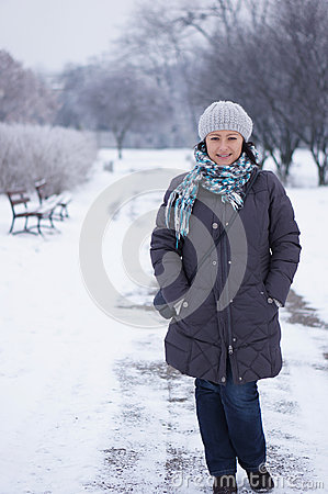 Woman wearing warm clothes
