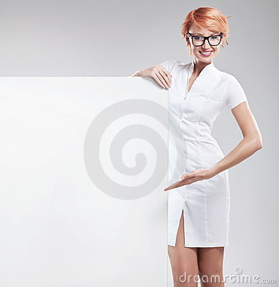 Woman wearing white coat