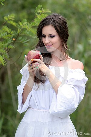 Woman Wearing White Off Shoulder Top Holding Red Apple Fruit Free Public Domain Cc0 Image