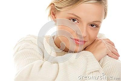 Woman wearing woolly sweater
