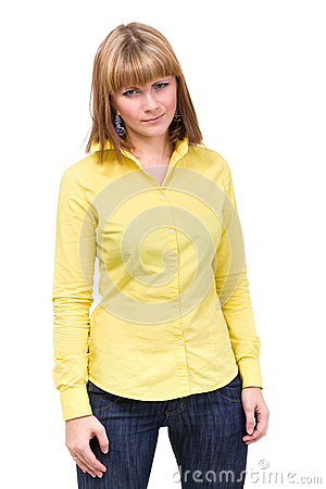 Woman wearing a yellow shirt