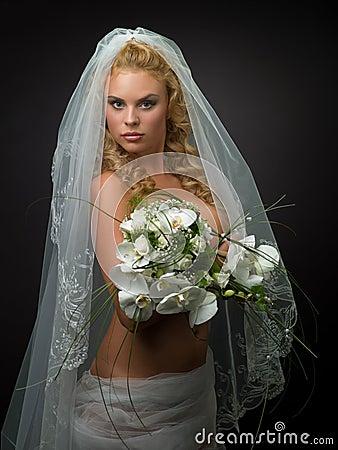 Woman in a wedding veil