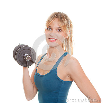 Woman weights exersice