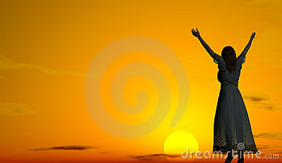 Woman welcoming the sunrise