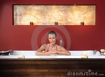 Woman in wellness bath