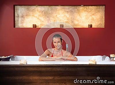 Woman in wellness bath