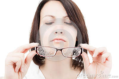 Woman with Wet Glasses