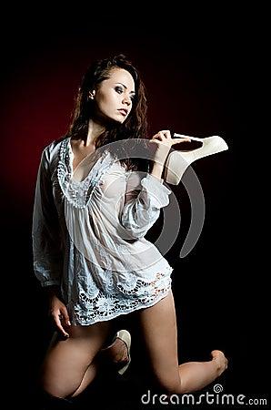 Woman in wet shirt