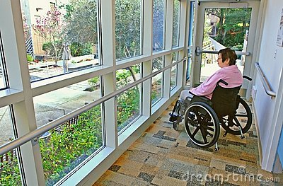 Woman in a Wheelchair Gazing Outside
