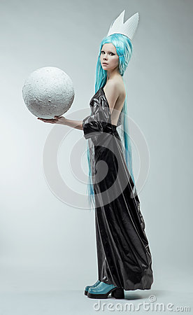 Woman with white ball