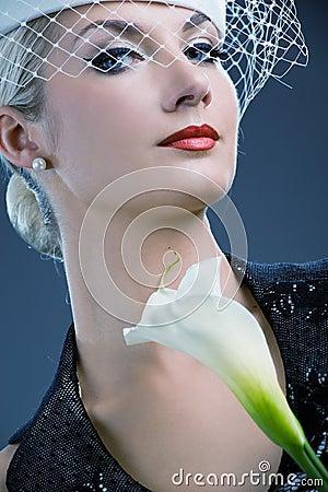 Woman with white kala flower