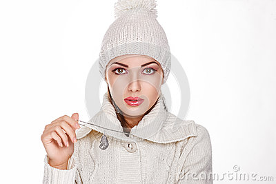 Woman in White Knitted Cap - Winter Style