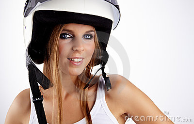 woman with a white motorcycle helmet