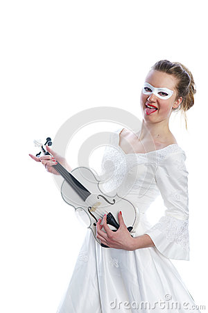 Woman with white party mask on face and white violin in hands