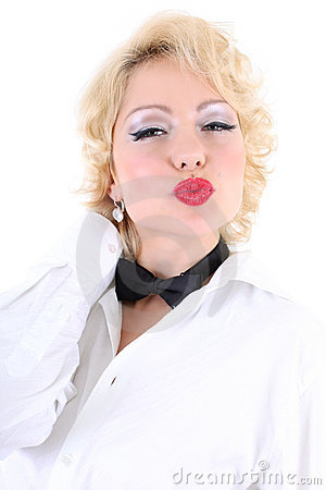 Woman in white shirt and black bow-tie kissing