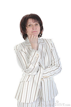 Woman in a white suit with strips