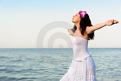 White  Dress on Free Stock Photography  The Woman In A White Sundress On Seacoast