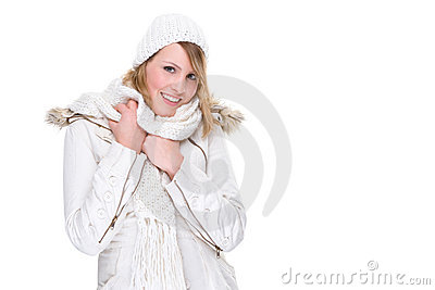 Woman in white winter clothes