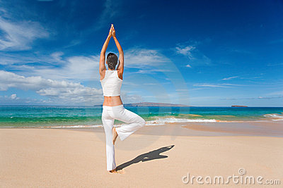 Woman white yoga beach