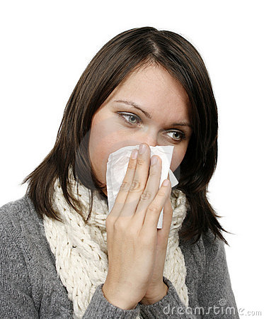 Woman who has caught cold