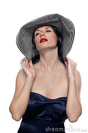 Woman in a wide brim hat