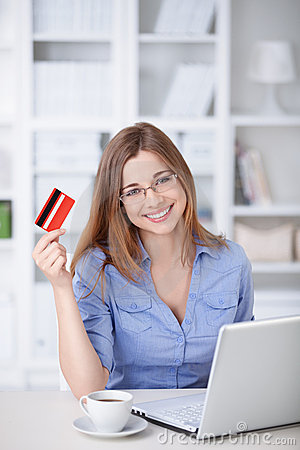 Woman wiht credit card