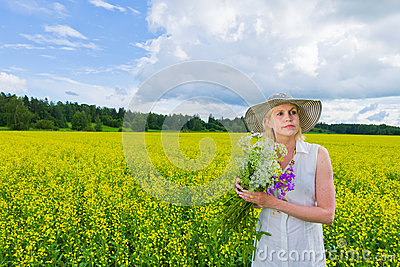Woman and wildflowers