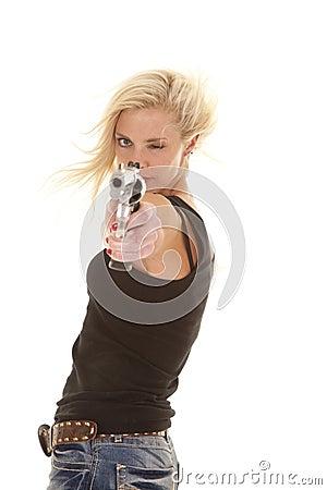 Woman wind point gun