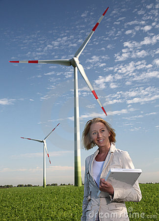 Woman with Wind Turbine and Laptop