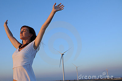woman and wind turbines