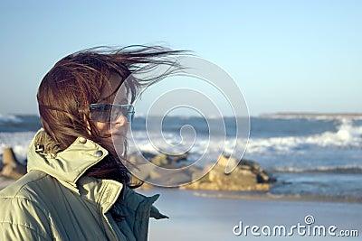 woman and windy sea