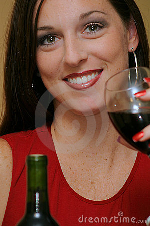 Woman with wine closeup