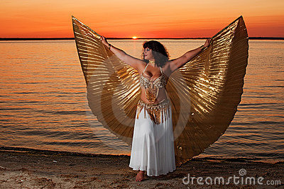 Woman with wings at sunset