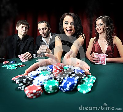 Free Woman Wins In The Casino Royalty Free Stock Photo - 26045375