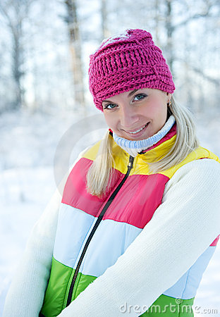 Woman in winter clothing outdoors