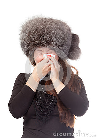 Woman with a winter cold and flu