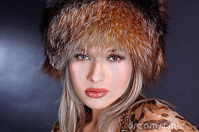 Woman in winter fur hat