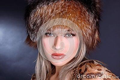 Woman in winter fur hat