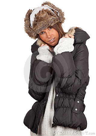 Woman in winter hat and black coat