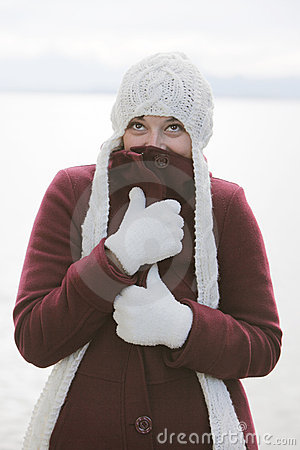 Woman in winter outfit with cap