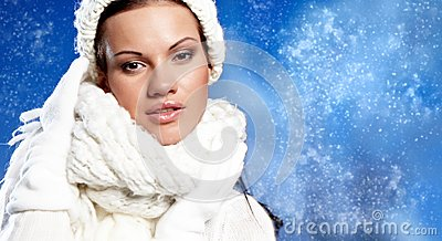 Woman in the winter scenery