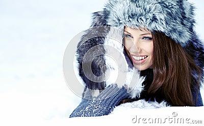 Woman in the winter scenery